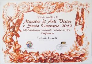 Titolo Onorifico  di Maestra di Arti Visive e Socia di Italia in Arte