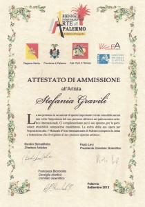 Attestato di Ammissione alla Biennale Internazionale d'Arte di Palermo