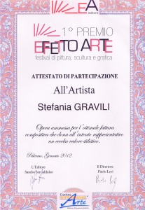Attestato di partecipazione Festival di pittura,scultura e grafica